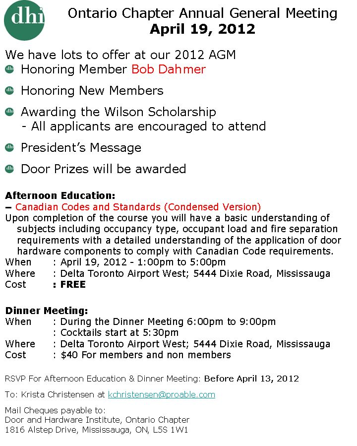 Ontario Chapter Annual General Meeting Information